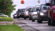 Big city rush hour traffic jam. Cars driving moving slow. video