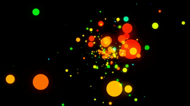 Big Colorful Dots Blinking on a Black Background video