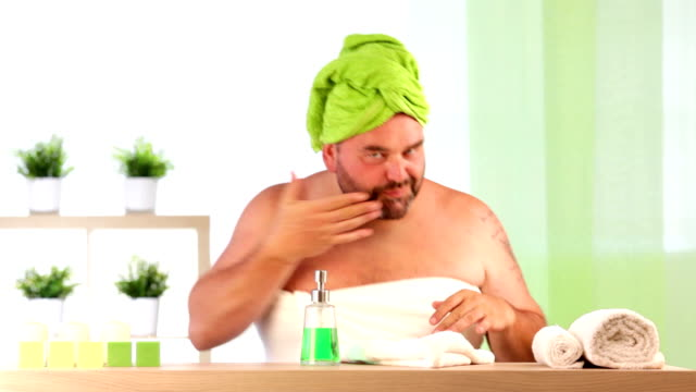 big fat bearded man faint smelling his armpit during healthcare video