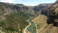 Big Horn Canyon - Aerial View - Wyoming,  Fremont County,  helicopter filming,  aerial video,  cineflex,  establishing shot,  United States video