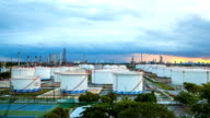 Big Industrial chemical tanks in a refinery video