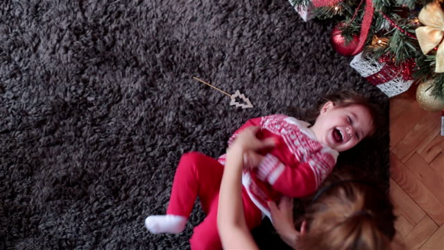 Big laughter and happiness on Christmas video