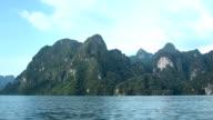 Big limestone mountain on Cheow Lan lake, Thailand video