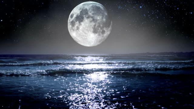 Big Moon over the Sea. HD video