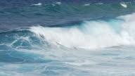 Big ocean waves crashing on the shore . video
