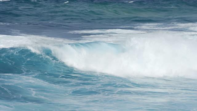 Big ocean waves crashing on the shore video