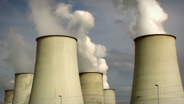 big power plant, air pollution - 2 clips. HD video