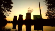 big power plant in the dusk video