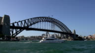 Big private yacht passing by the Sydney harbour bridge video