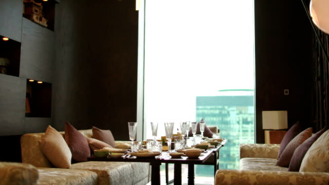 Big Served Table in Hotel Room video