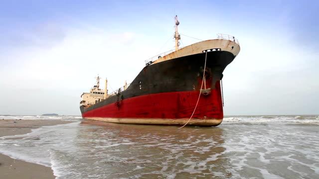 big ship aground on beach video