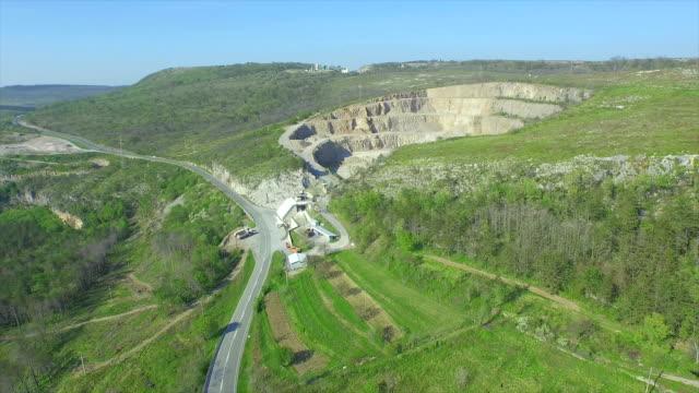 AERIAL: Big stone quarry video