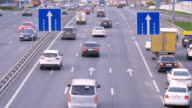 A big traffic of cars, in the evening on city streets. video