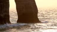 Big waves splashing on the rock cliff of Etretat video