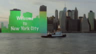Big Welcome to New York City sign transparent video