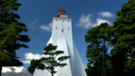 A big white lighthouse on the middle of the field GH4 4K video
