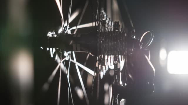 Bike cassette and derailleur at night video
