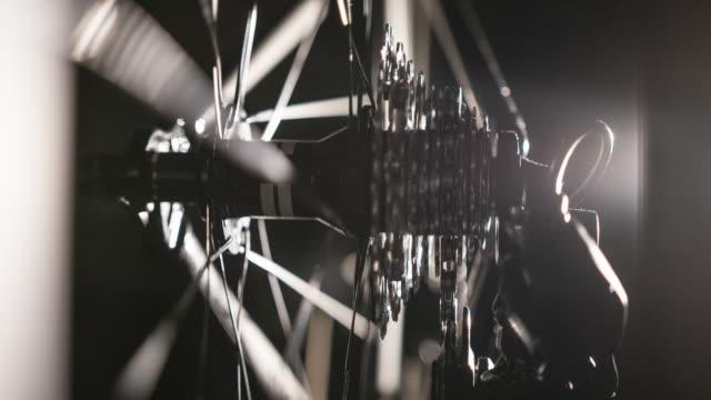 Bike cassette and derailleur on black background video