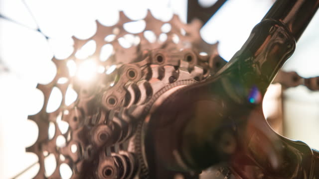 Bike cassette sprocket spinning video
