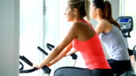 Bike exercising in a gym. video