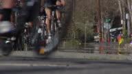Bike Racers Approaching Left Turn video