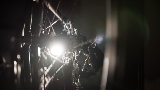 Bike wheel detail in the dark video