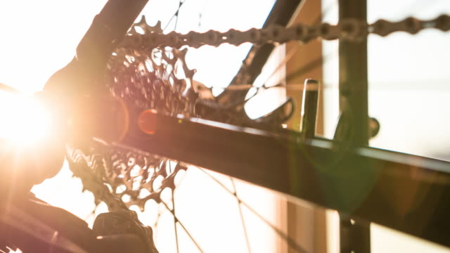 Bike wheel, gear and chain in motion video