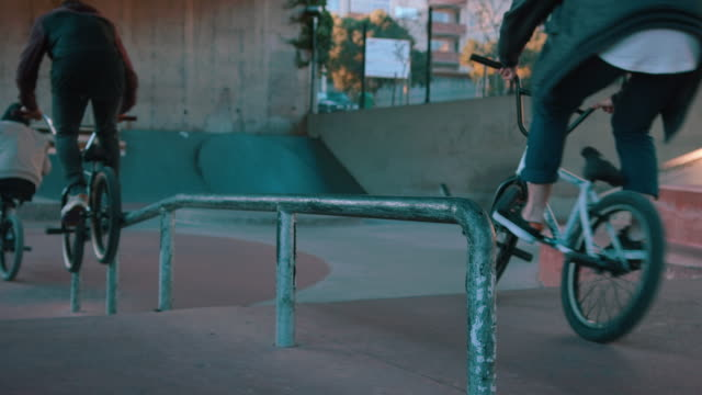 BMX biker grinding on rail video