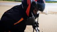 Biker in the right gear, ready to start video