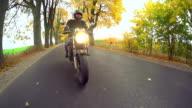 Biker riding motorcycle video
