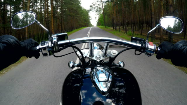 A POV biker shot riding in the country. video