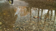 HD SLOW MOTION: Biker Splashing Through Puddle video