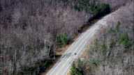 Bikers On Crawford Notch Road  - Aerial View - New Hampshire,  Carroll County,  United States video