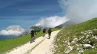 HD CRANE: Bikers Riding Up Mountain Road video