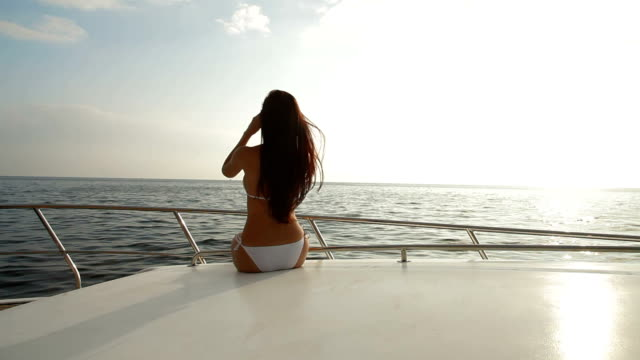 Bikini Beauty With Binoculars on Yacht video