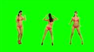 Bikini girl dancing. Green Screen video