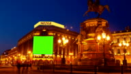 Billboard chromakey on the sity street. timelapse video