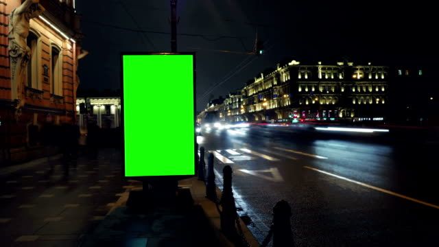 A Billboard with a Green Screen/Time Lapse video