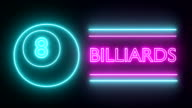 Billiards pool neon sign lights logo text glowing multicolor video