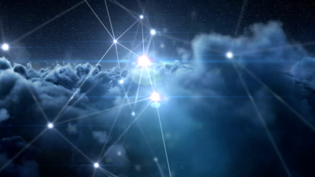 Binary codes and lines against clouds during night 4k video