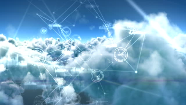 Binary codes and lines against white clouds 4k video