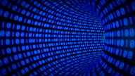 Binary internet tunnel - v1 blue. Seamless loop. video