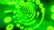 Binary tunnel wormhole flight through space warp speed dimension CRT green video
