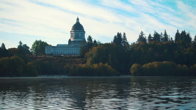 Bird Flys By Washington State Capitol Lake video