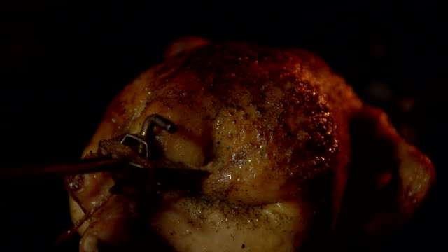 A bird roasted on a spit in an oven in close-up. video