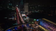 Bird-eye view Bangkok in the night, time lapse video