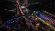 Bird-eye view Bangkok in the night, time lapse video