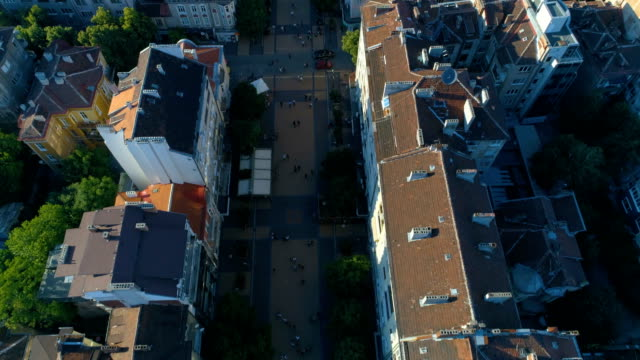 Bird's eye looking down view of Vitosha boulevard in Sofia, Bulgaria video