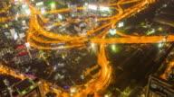 Bird's eye view of Bangkok traffic at night video