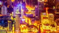 Bird's eye view of Shanghai at night. time lapse.Loop. video